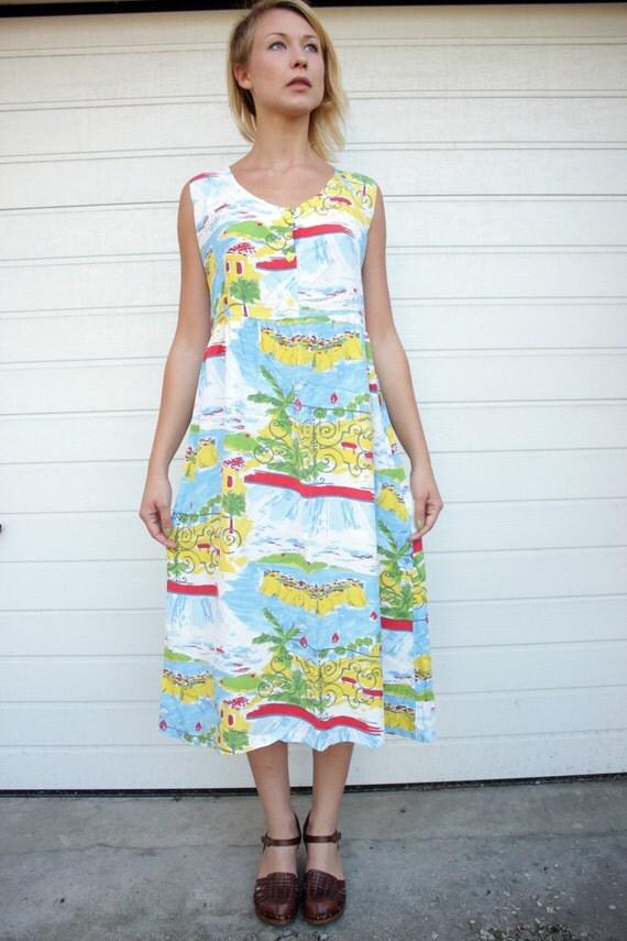 Colourful Vintage Summertime Print Tent Dress