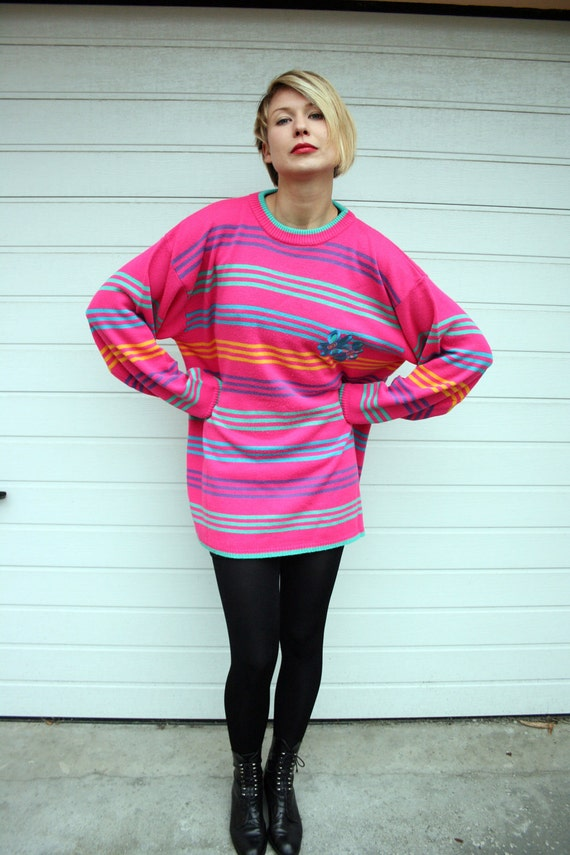Electric Pink Oversized 80s Sweater