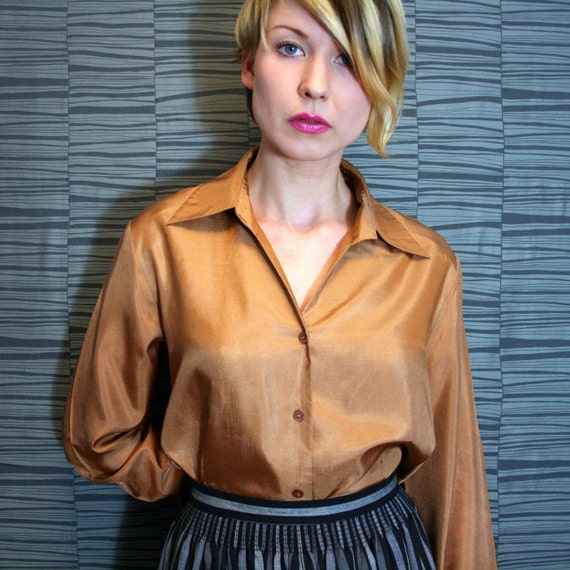 Vintage Bronze Longsleeve Blouse Shirt Top