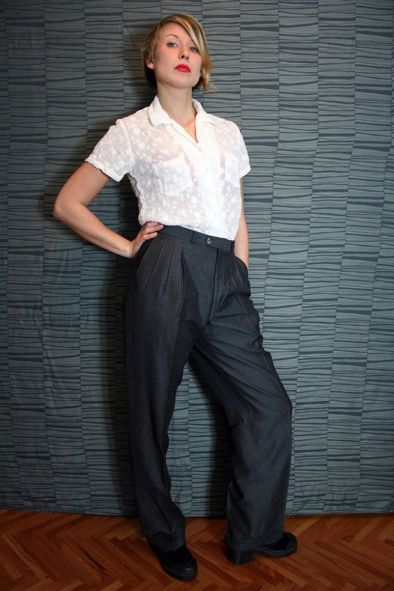 Vintage Charcoal Preppy Trousers