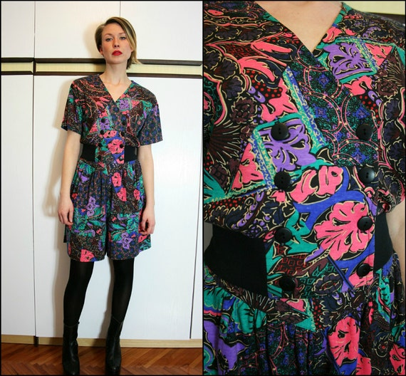 Vintage 80s Crop Top and Culottes Electric Bright Two Piece Set