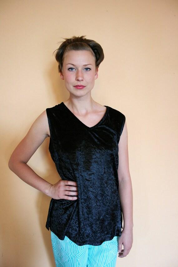 Vintage Black Crushed Velvet Sleeveless Basic Blouse Top