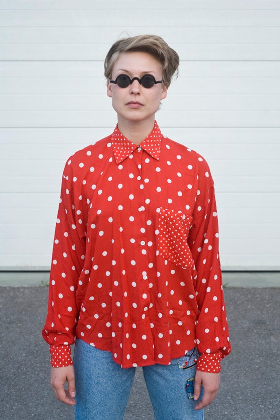 Vintage Red and White Polka Dot Shirt