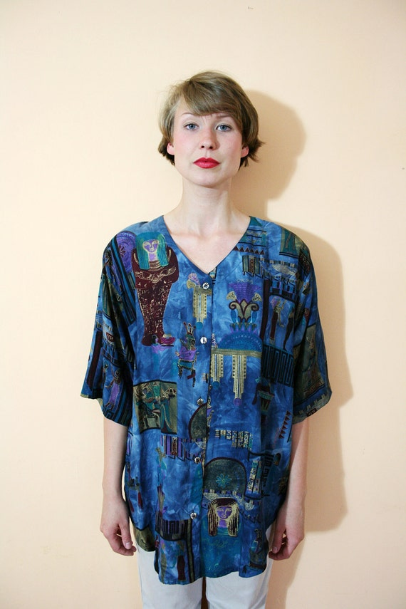 Vintage 80s Oversize Slouchy Egyptian Calligraphy Shirt