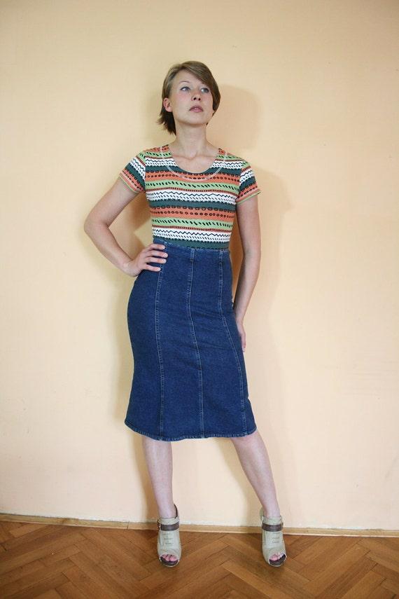 ON SALE Vintage High Waist Dark Denim Stretch Midi Skirt