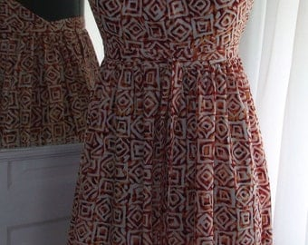 African Rust and White Print Back Wrap Halter Dress - M/L