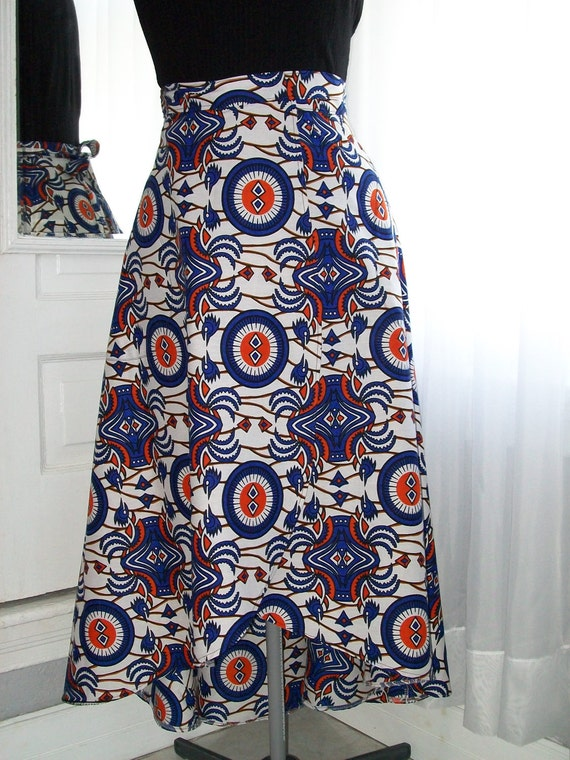Ladies Long African Print Wrap Skirt with Shaped Hemline - Size Small