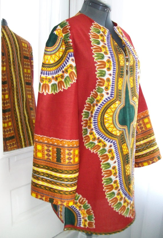 Ladies Red Ethnic Dashiki Print Cotton Tunic - Size M/L