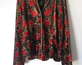 Vintage Velvety Loose Fit Jacket by R&K Evening Red Roses with Gold Tone accents