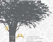 PERSONALIZED TREE PRINT // 8x10 // 1st Anniversary Paper Gift or Wedding Gift. 1 Corinthians Love is Patient. StudioLO2011