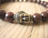 Mens Buddha Bracelet - Mahogany Obsidian Mens Bracelet with Sandalwood Mala Bead, Brass Buddha