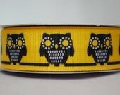 Owls, Yellow, Black and White -  2 yards, 7/8 inch wide