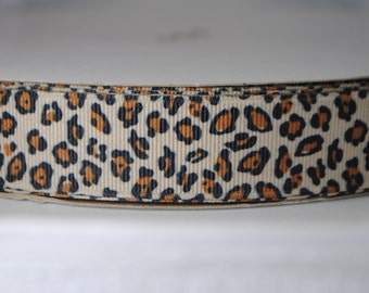 Leopard Print Grosgrain Ribbon 7/8 inches wide - 2 Yards