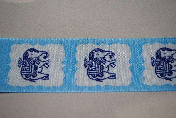 Blue Elephants Ribbon 2 Yards - Trim 1.5 inches wide