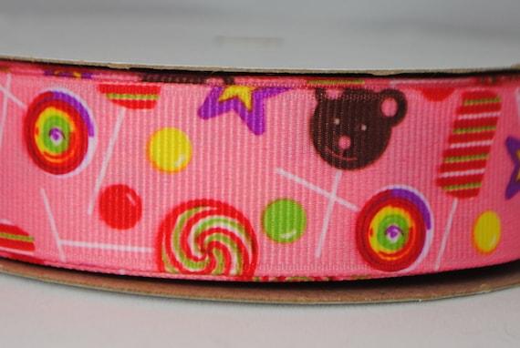 Candy Print Grosgrain Ribbon -  2 yards, 7/8 inch wide