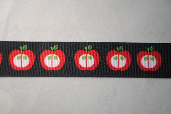 Retro Apples Red, Black, and Green Grosgrain Ribbon - 7/8 inch wide - 2 Yards