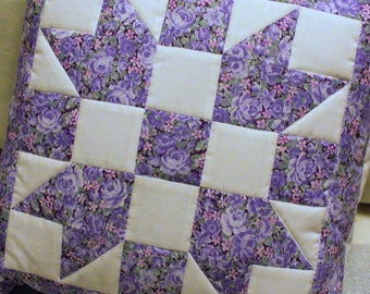 Floral Purple Quilted Lavender White SISTER'S CHOICE Patchwork Pillow