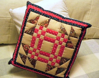 Quilted Red Brown Tan Blue GOOSE in the POND Patchwork Pillow