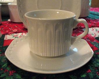 Crisp WHITE Coffee Tea Simple Elegant Versatile Cups & Saucers Embossed, ACANTHUS pattern Pontesa Ironstone Made in Spain Alfar Etrusco