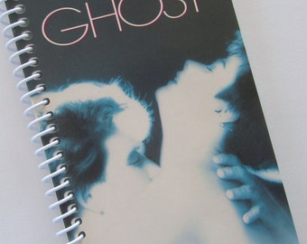 GHOST Notebook Journal upcycled spiral notebook Recyled Repurposed VHS movie Swayze Halloween