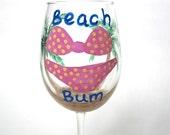 Beach Bum - Hand Painted Wine Glass