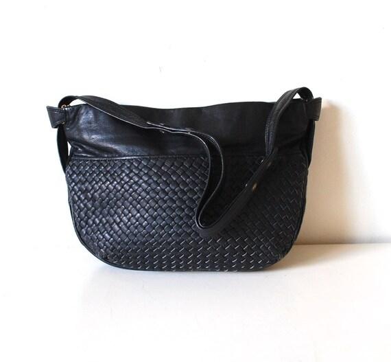 Vintage BRIO Black Woven Leather Hobo Bag