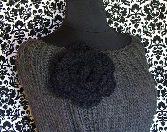 Charcoal Grey Knit Capelet/Black Flower/Italian Organic Wool Eco-friendly