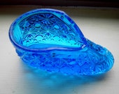 Vintage Cobalt pressed Glass Shoe