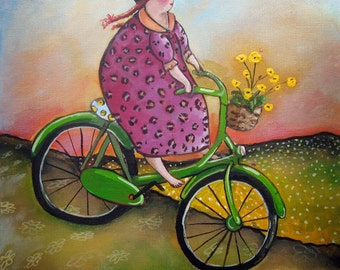 """Bicycle Art print on watercolor paper 8""""x8"""" Best day Ever"""