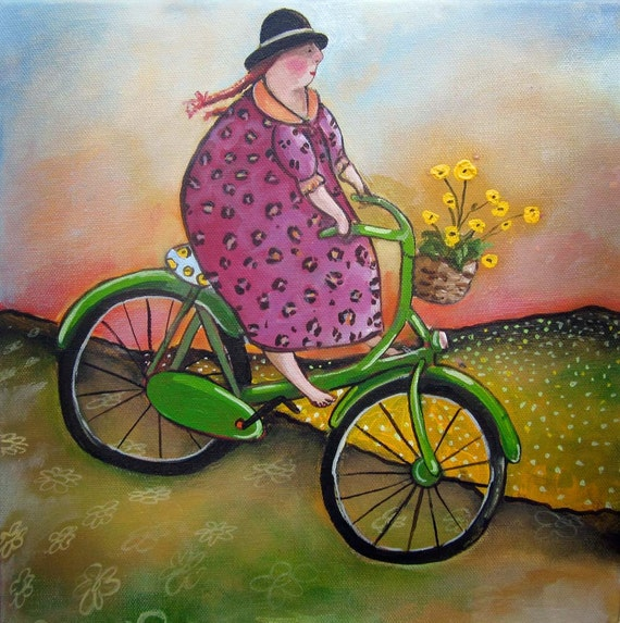 "Bicycle Art print on watercolor paper 8""x8"" Best day Ever"