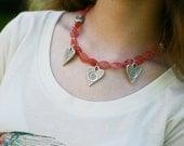 Cherry Quartz Necklace - Pewter Heart Necklace - Pink Heart Necklace - Silver Heart Necklace - Gemstone Heart Necklace - Pink Silver Heart