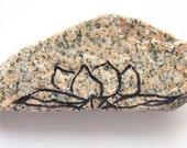 Zen Decor, Meditation Stone Painted Lotus Flower in Black Ink on Peach Granite, Nature Inspired, Yoga Stone
