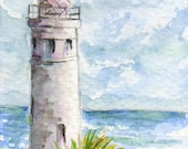 aceo, Point Vicente, lighthouse, Palos Verdes, California, WATCHFULL, pacific ocean, Los Angeles, giclee, dollhouse art