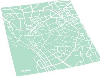 Manila City Print Modern Art / Philippines Map Poster / 8x10 Digital Print / Choose your color