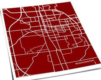 Bloomington, Indiana College Art City Map Print / Hoosiers Dorm Decor Poster / 8x10 / Custom colors