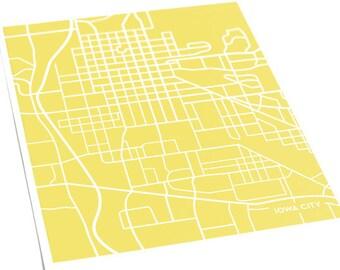 Iowa City Map Art Print University Of Wall Poster 8x10 Available