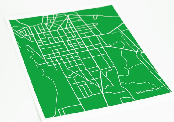 Burlington VT College Art Map Print / University of Vermont UVM Poster / 8x10 / Personalized colors