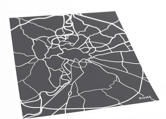 Rome City Map Art Print / Italy Map Poster Abstract Line Drawing / 8x10 Digital Print / Choose your color