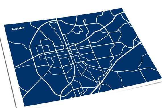 Auburn, AL City Map Graphic Print / Auburn University Wall Art / 8x10 / Choose your Color