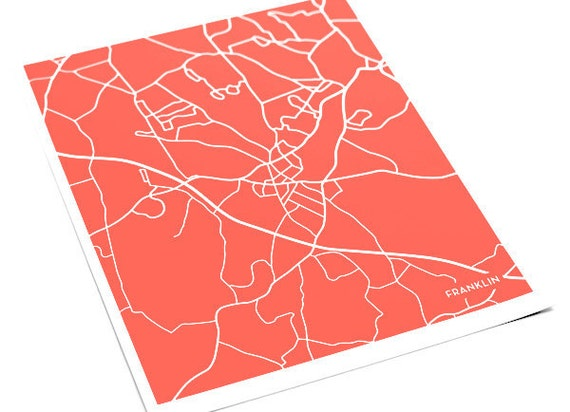 Franklin, MA City Map Art Print / Massachusetts Map Print Custom Artwork / 8x10 Digital Print / Personalized colors