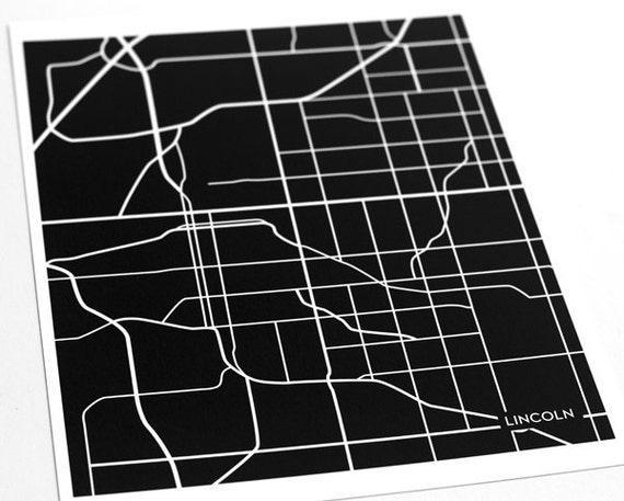 Lincoln NE City Art Wall Print / University of Nebraska Line Map / 8x10 / Choose your color