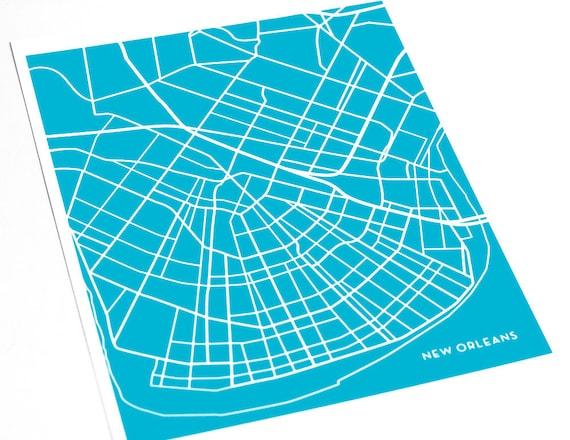 New Orleans City Map Abstract Art Print / NOLA Mardi Gras Wall Decor / 8x10 Digital Print / Personalized colors