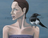 """Woman with Magpie - Blank Card - 4 7/8 x 4 7/8"""""""