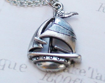 SAILBOAT Necklace - Pewter Charm on a FREE Plated Chain