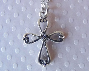 FLEURS de LIS Cross Necklace - Pewter Charm on a FREE Plated Chain