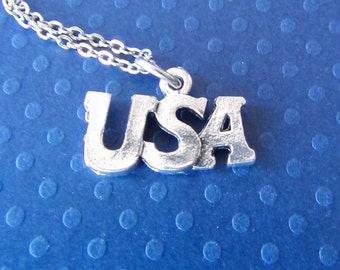 USA LETTERS Necklace - Pewter Charm on a FREE Plated Chain