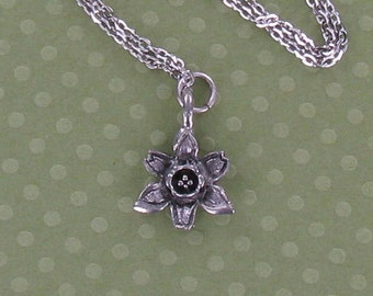 DAFFODIL FLOWER Necklace - Pewter Charm on a FREE Plated Chain