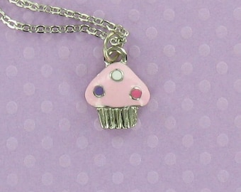 PINK CUPCAKE - Closeout Price! Pewter Charm on a FREE Plated Chain