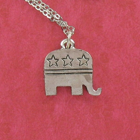 REPUBLICAN ELEPHANT - Pewter Charm on a FREE Plated Chain