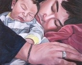 Custom Painted Portrait - Father and Son - Custom Oil Painting - 8x10